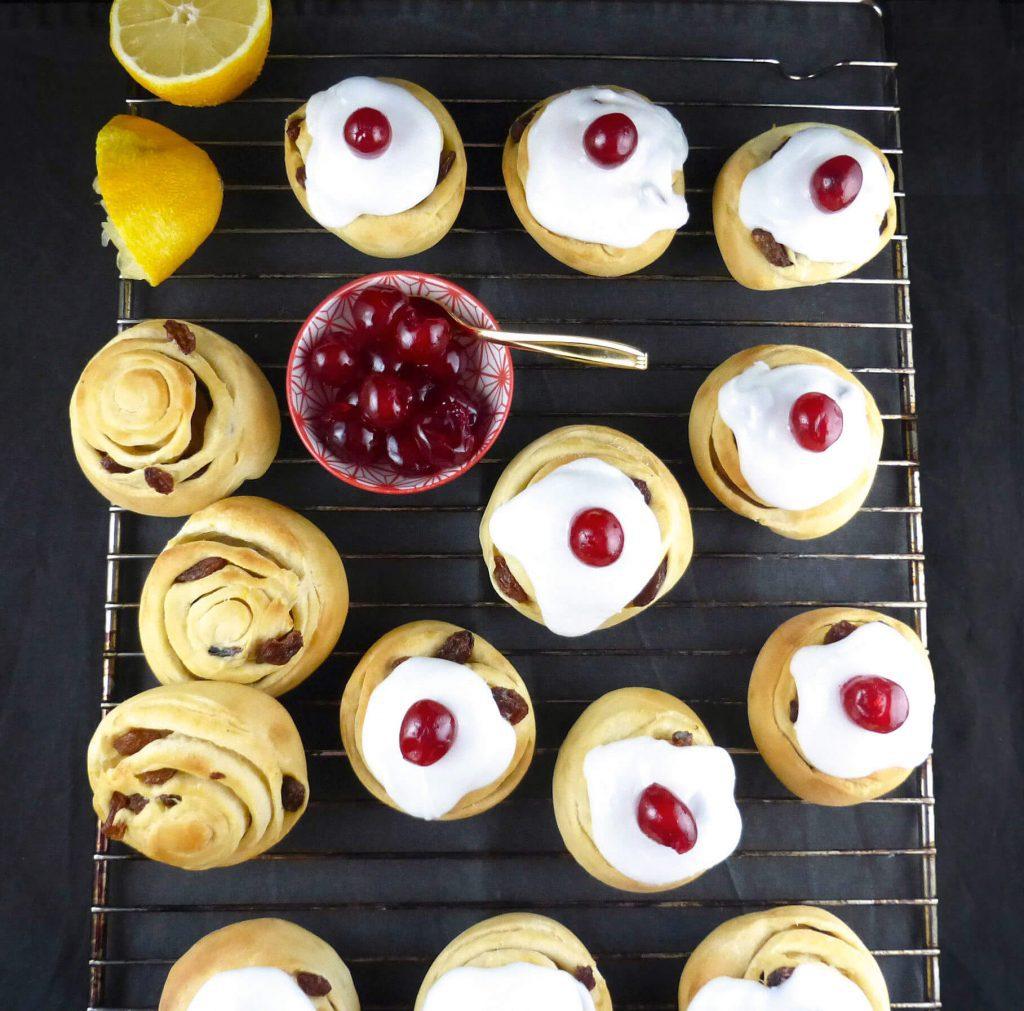 Homemade Spelt Belgian Buns with Lemon Icing
