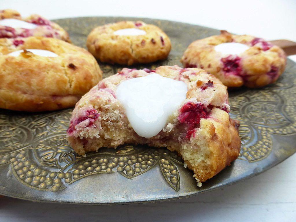 Raspberry Spelt Thumbprint Cookies