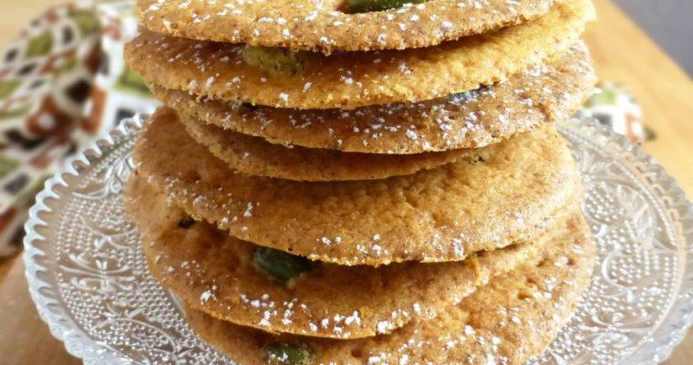 Saffron Pistachio Snap Cookies (gluten free, spelt or regular flour)