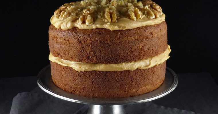 Coffee and Walnut Spelt Cake with Coffee Cream Cheese Frosting