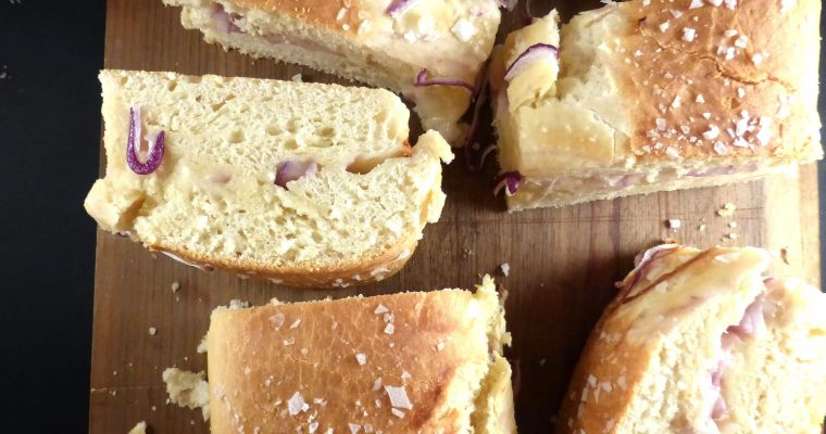 Home-Baked Mozzarella Spelt Bread with Red Onion