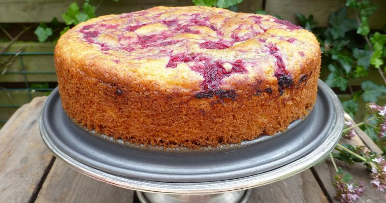Spelt Raspberry Sponge Cake (reduced sugar, low fat)
